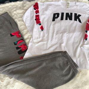 Vs Pink Exclusive Campus Pant long sleeve Tee